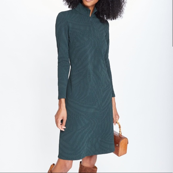 J.McLaughlin Bedford Hunter green jacquard dress